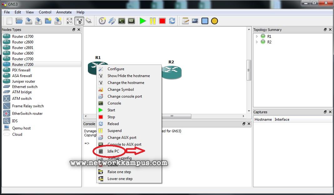gns3'te laboratuvar ortamı kurmak CPU ve RAM kullanımını azaltmak idle pc