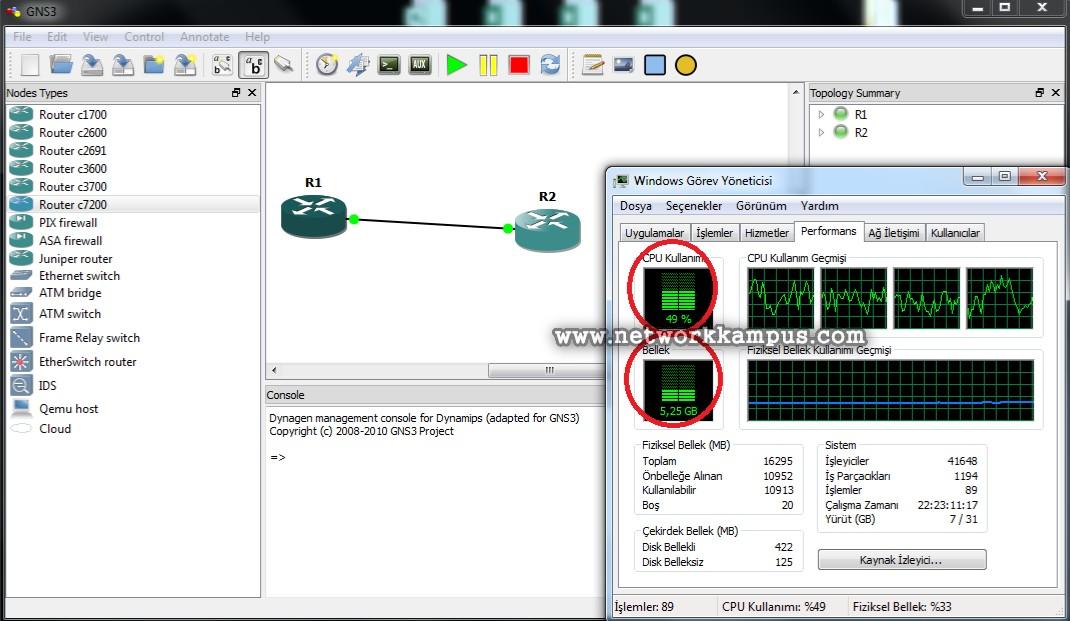 gns3'te laboratuvar ortamı kurmak CPU ve RAM kullanımı 2
