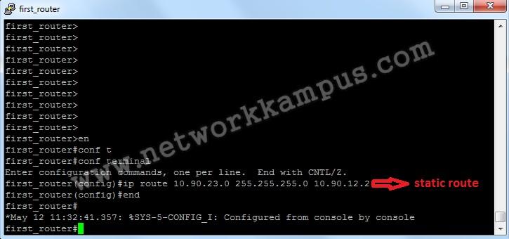 statik routing birinci router komutları