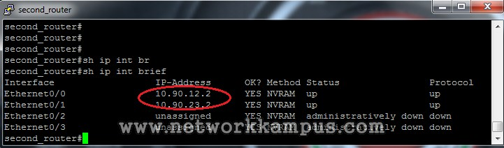 statik routing ikinci router'ın interface'leri