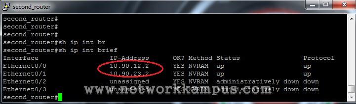 statik routing ikinci router'ın interface'leri