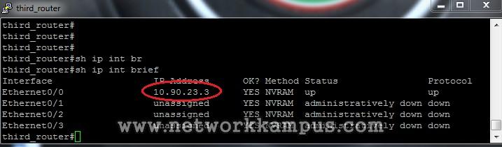 statik routing üçüncü router'ın interface'leri