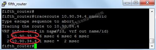eigrp beşinci router'da interface bandwidth değiştirdikten sonra traceroute komutu yeni yol 2
