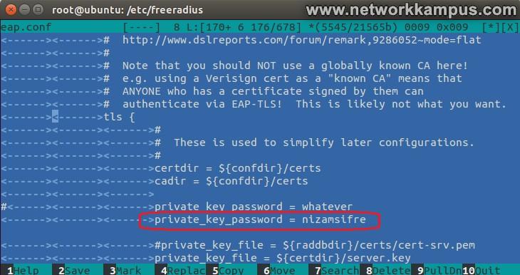eap.conf dosyasında private key password