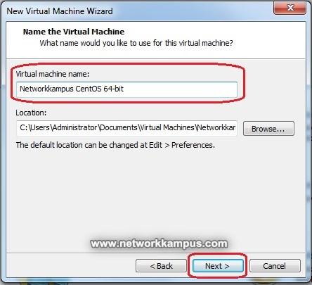 virtual machine centos vmware kurulumu sanal makinenin ismi