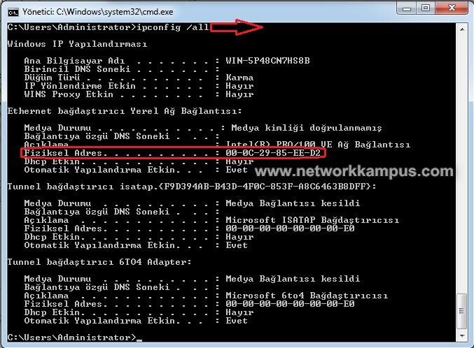 windows 7 mac adres öğrenme