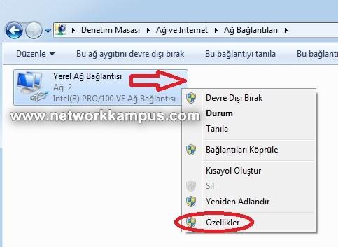 windows 7 yerel ağ bağlantısı LAN özellikleri