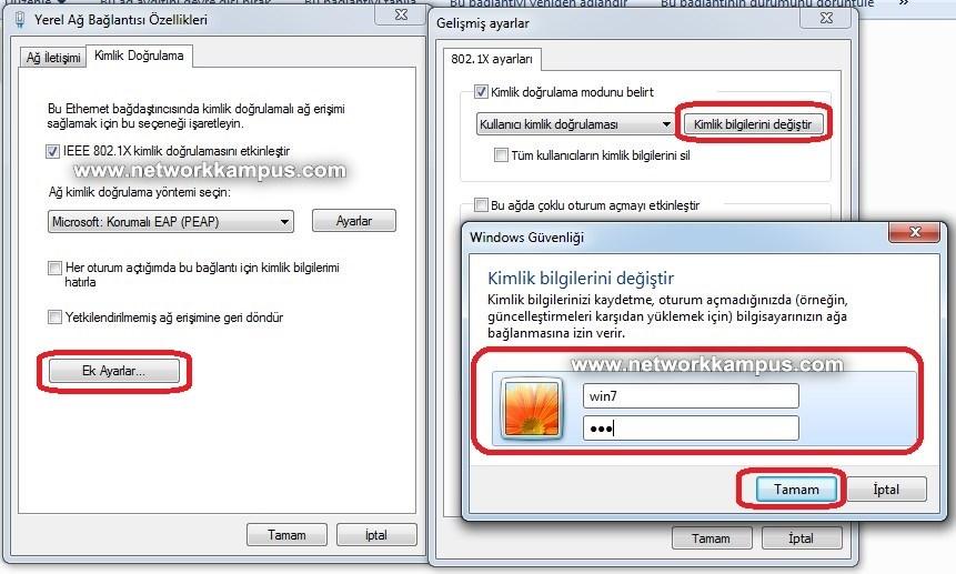 windows 7 802.1x kullanıcı adı ve şifre girme işlemi