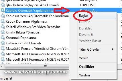 windows 7 802.1x servisini açmak
