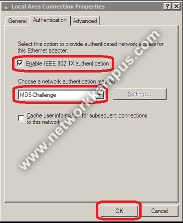 windows XP 802.1x ayarları