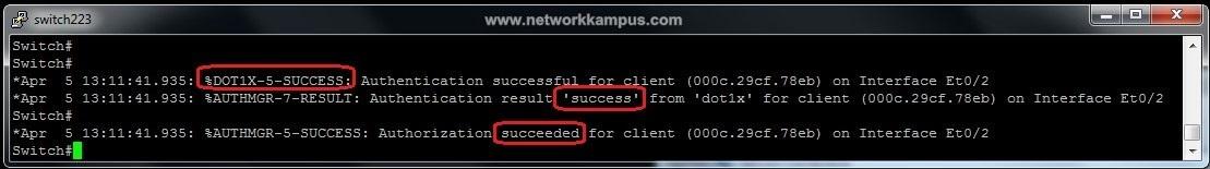 windows XP için kimlik doğrulama aşamasında switch'in kontrol edilmesi işlemi