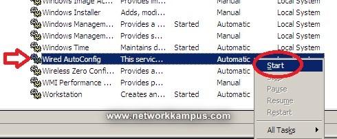 windows xp 802.1x servisini açmak