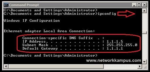 windows xp ipconfig komutu