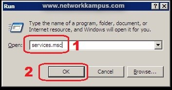 windows xp run services.msc servisler