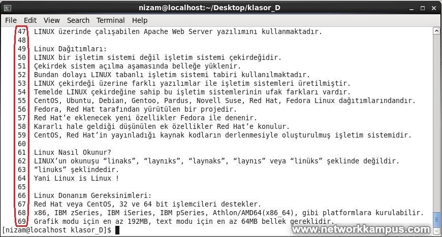 centos rhel cat komutu dosya içeriği görüntüleme örnek
