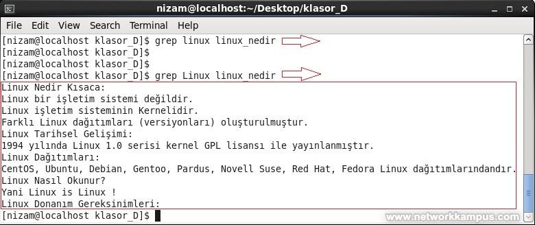 linux rhel centos red hat grep komutu kullanımı örnek