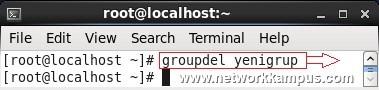 linux rhel centos red hat group add komutu ile grup silmek