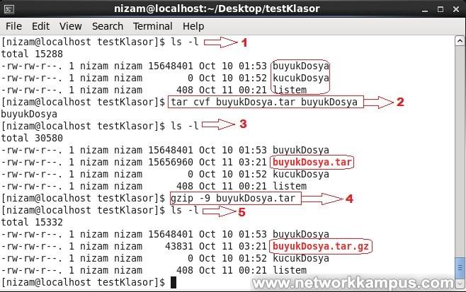 linux rhel centos red hat gzip komutu arşivlenmiş dosyaları ziplemek sıkıştırmak