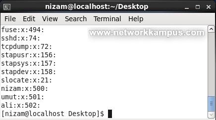 linux rhel centos red hat etc group dosyası mevcut grupları görmek