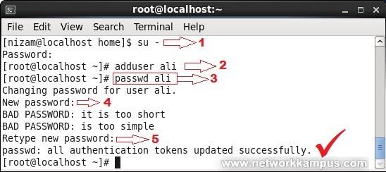 linux rhel centos red hat passwd komutu kullanımı kullanıcıya şifre belirlemek örnek
