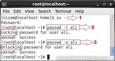 linux rhel centos red hat passwd komutu -l ve -u parametreleri ile kullanıcı kilitlemek ve açmak lock unlock user