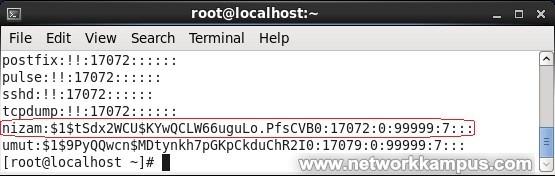 linux rhel centos red hat etc passwd dosyası