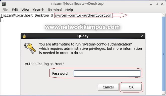 system-config-authentication komutu ile centos NIS ayarlarına girmek