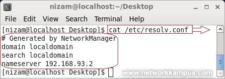 linux centos red hat rhel DNS ayarları /etc/resolv.conf dosyası ornek