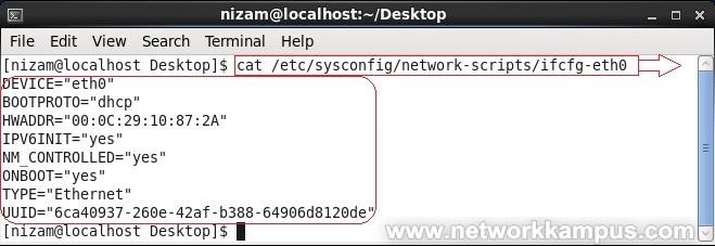 linux centos red hat rhel etc/sysconfig/network-scripts/ifcfg-eth0 dosyası örnek