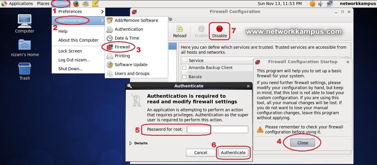 linux centos red hat rhel grafik ekrandan firewall guvenlik duvari kapatmak acmak