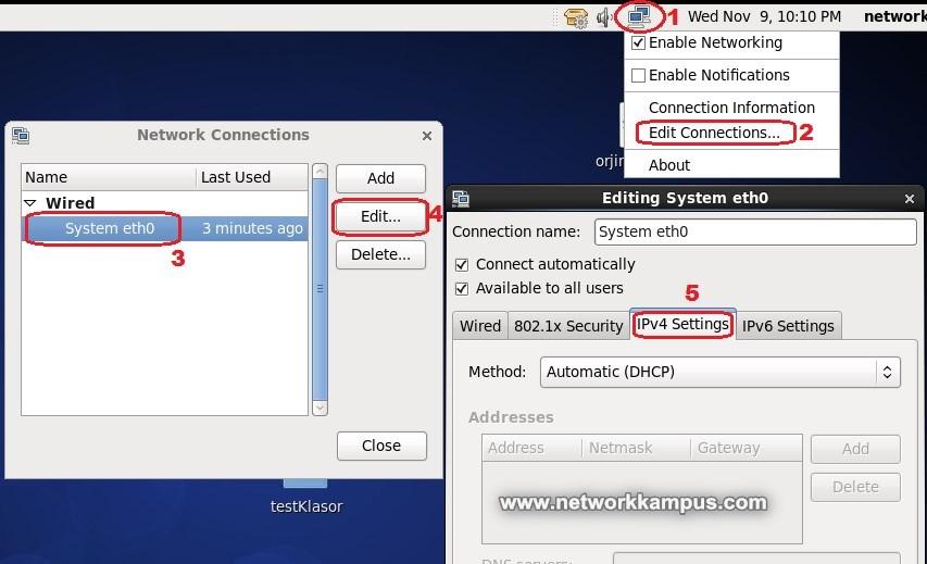 linux centos red hat rhel grafiksel ekranda ip degistirme ornek