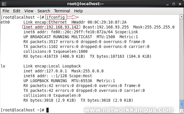 linux centos red hat rhel ifconfig komutu ile IP adresini bulmak ornek
