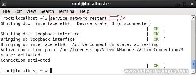 linux centos red hat rhel kalici IP degistirme ornek 3