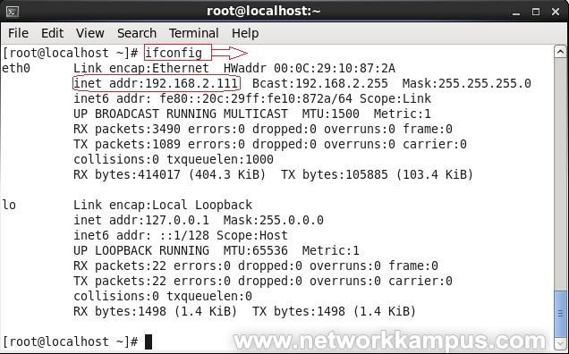 linux centos red hat rhel kalici IP degistirme ornek 4