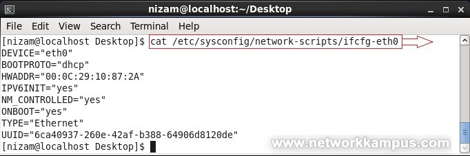 linux centos red hat rhel kalici IP degistirme ornek 1