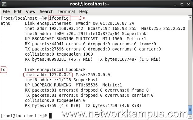 linux centos red hat rhel ifconfig komutu ile loopback adresi kontrolu