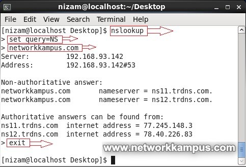 linux centos red hat rhel nslookup parametreleri