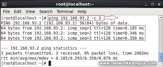 linux centos red hat rhel ping -c komutu ile belirli adet ping paketi atmak ornek