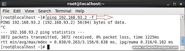 linux centos red hat rhel ping -f komutu ile cok hizli ping paketi atmak force ping ornek