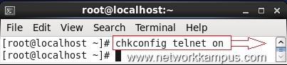 inux centos red hat rhel chkconfig telnet on komutu ile telnet servisini baslatmak