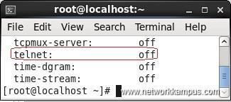linux centos red hat rhel chkconfig --list komutu telnet servisi