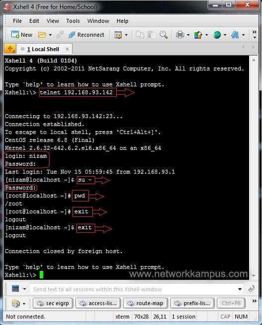linux centos red hat rhel xshell ile telnet bağlantısı yapmak ornek