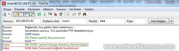 filezilla 500 OOPS cannot change directory hatası