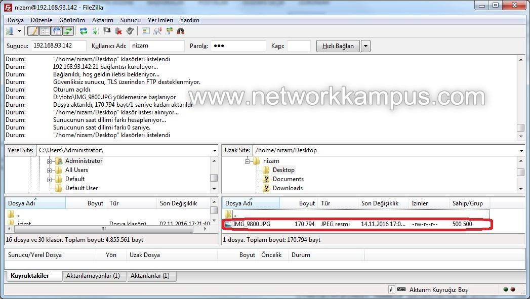 linux centos red hat rhel filezilla programindan ftp ile dosya atmak