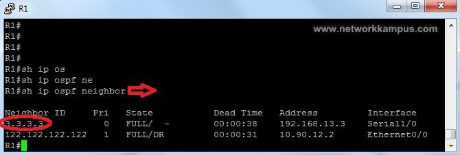 OSPF komşulular ve show ip ospf neighbor komutu ornek