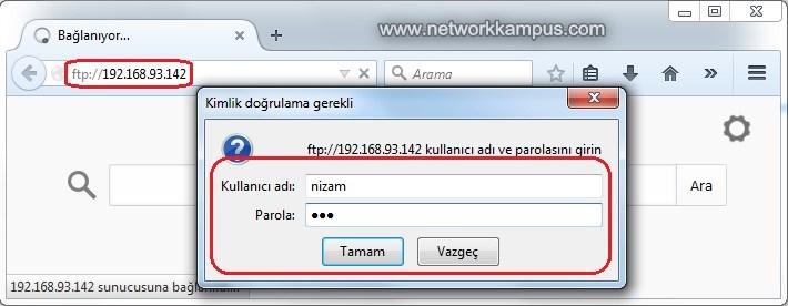 web tarayıcı browser ile ftp yapmak