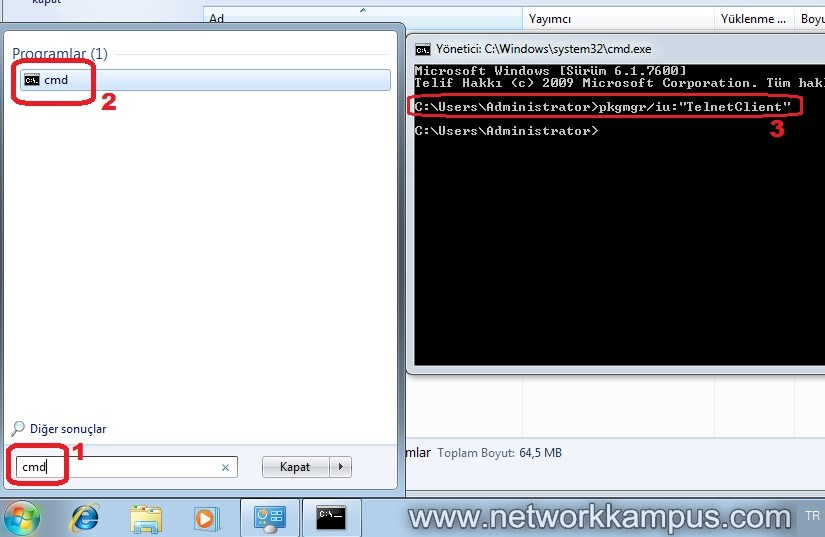 windows 7 telnet istemci client ayarlari