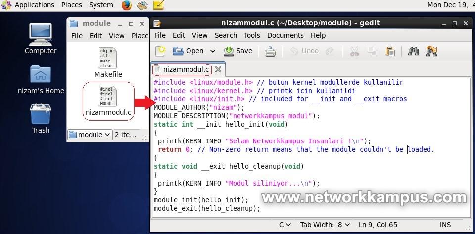linux centos red hat rhel kernele basit bir modul yazma