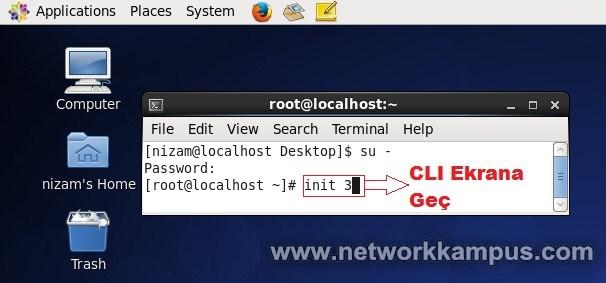 linux centos red hat rhel init komutu ile gecici olarak degistirme