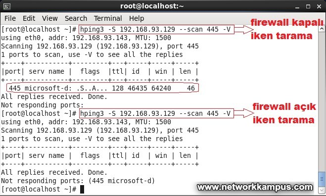 linux centos red hat rhel hping3 scan